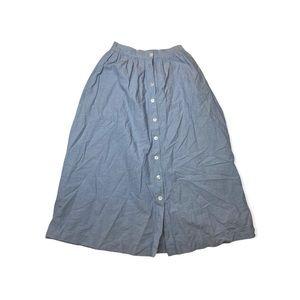 Eagles Eye Blue Button Down Cotton Vintage Style Midi Skirt Size Medium